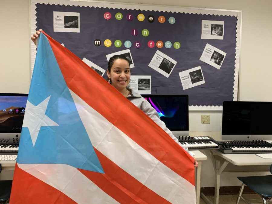 Ms. Burgos, Music Technology teacher at the Prep, shows her support for Puerto Rico.