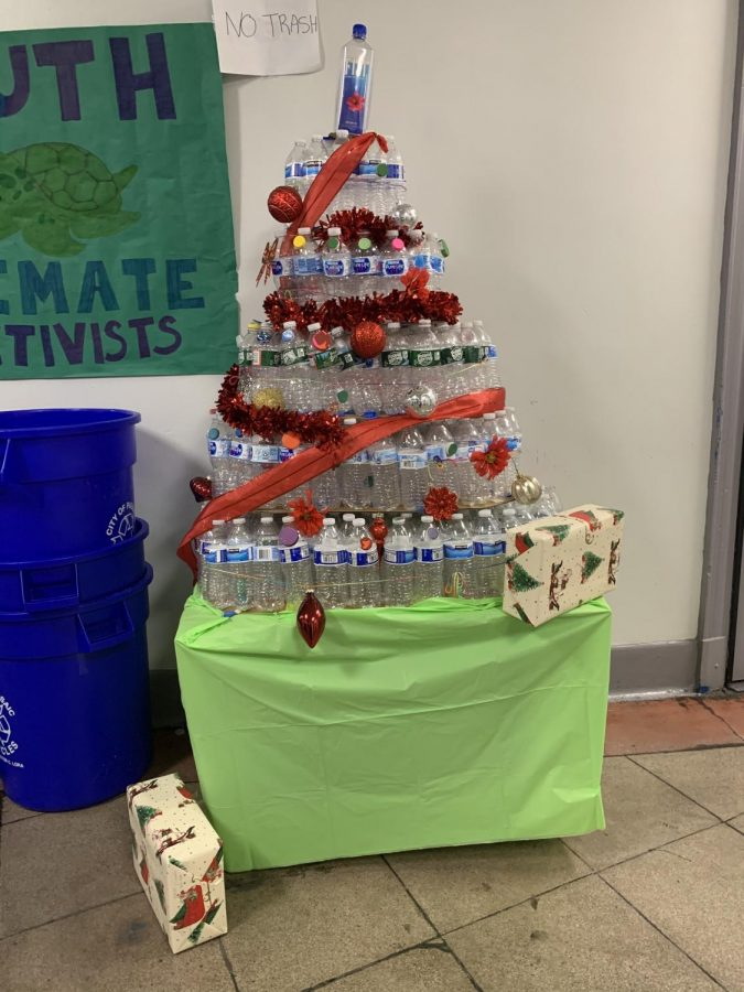The Christmas tree designed by the Youth Climate Activists club from water bottles they collected during the Water Bottle Challenge at Passaic Prep.
