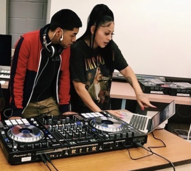 Evin Zuniga, left, with DJ Niyah, a professional DJ who was a guest of the Music Tech Pathway at Prep.